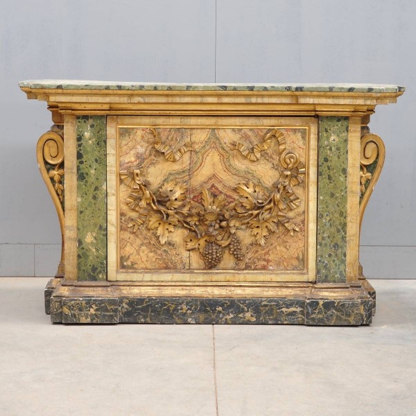 Italian Baroque style faux marble and carved giltwood console table