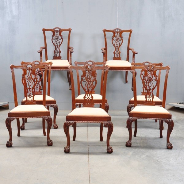 set of eight English mahogany dining chairs in the Chippendale style, including two armchairs
