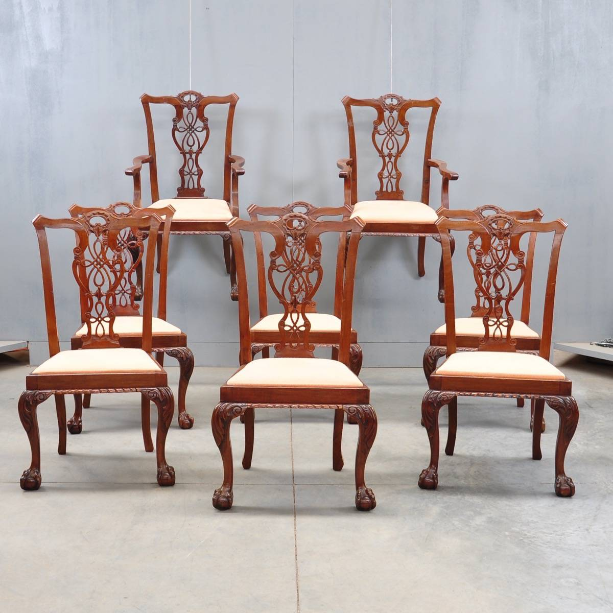 set of eight English mahogany dining chairs in the Chippendale style,  including two armchairs - Set Of Dining Chairs And Armchairs De Grande Antiques