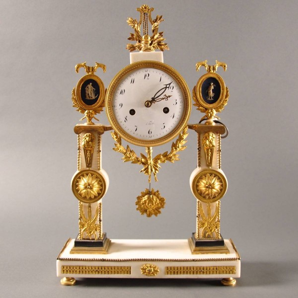 Antique French pillar clock, white carrera marble with ormolu mountings