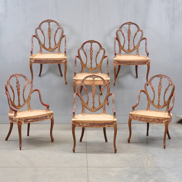 Set of six George III armchairs