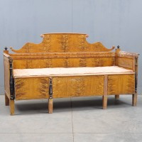 Antique South German grained and ebonised pine box seat settle