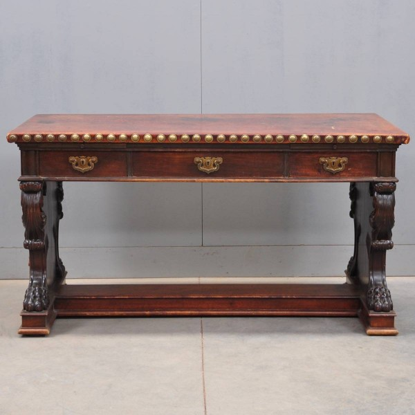 Italian antique library table with leather top