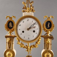 Antique French white carrera marble pillar clock with ormolu mountings