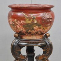 Antique Red lacquered Chinese pottery