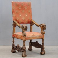Antique South European carved giltwood and upholstered armchair