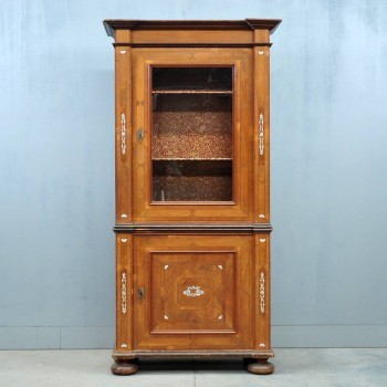 Antique South German Walnut Display Cabinet