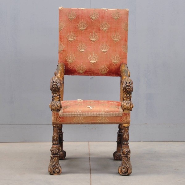 Antique Spanish carved giltwood and upholstered armchair