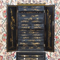 Antique Chinese cabinet on stand black lacquer and gilt