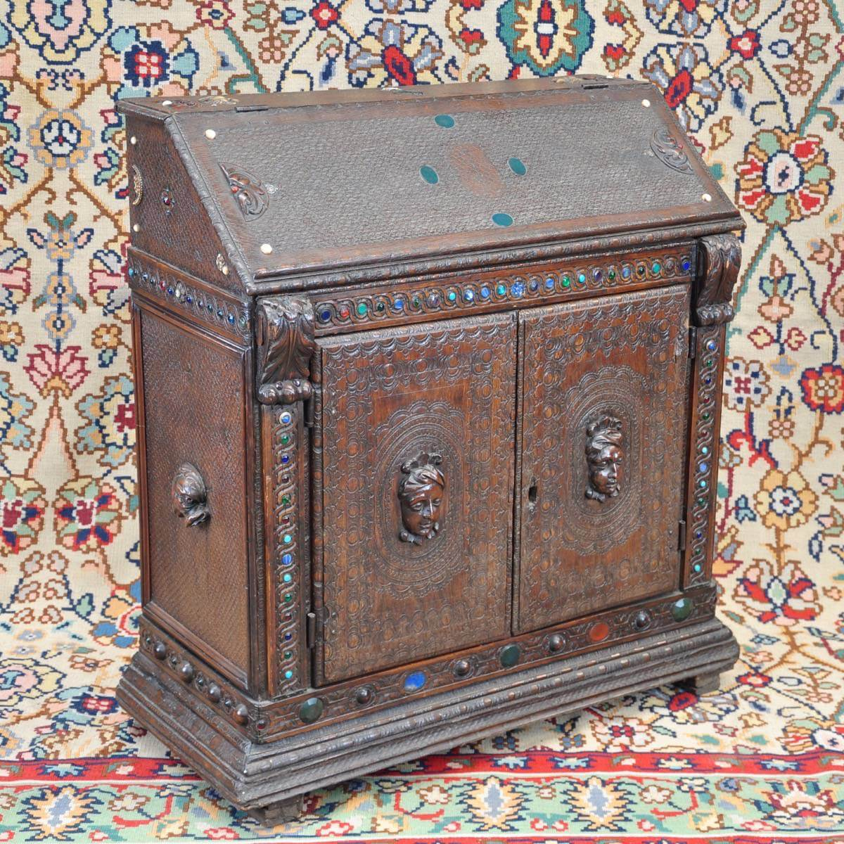 Carved writing cabinet de grande antique furniture
