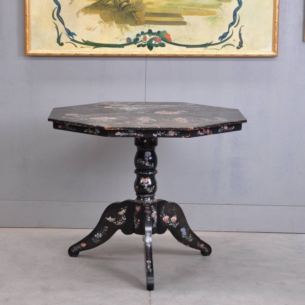 Chinese antique table black lacquer, mother-of-pearl and polychrome painted