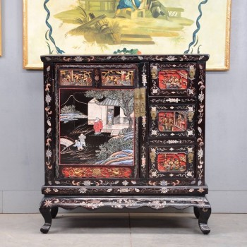 Chinese lacquer, coromandel and carved cabinet