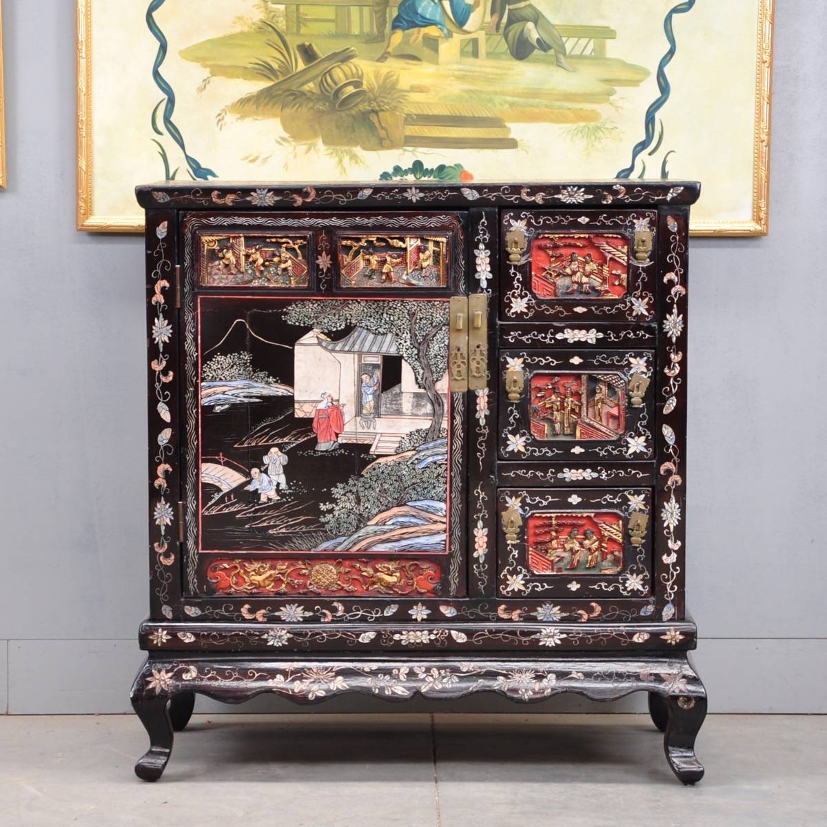 Chinese Lacquer And Carved Cabinet