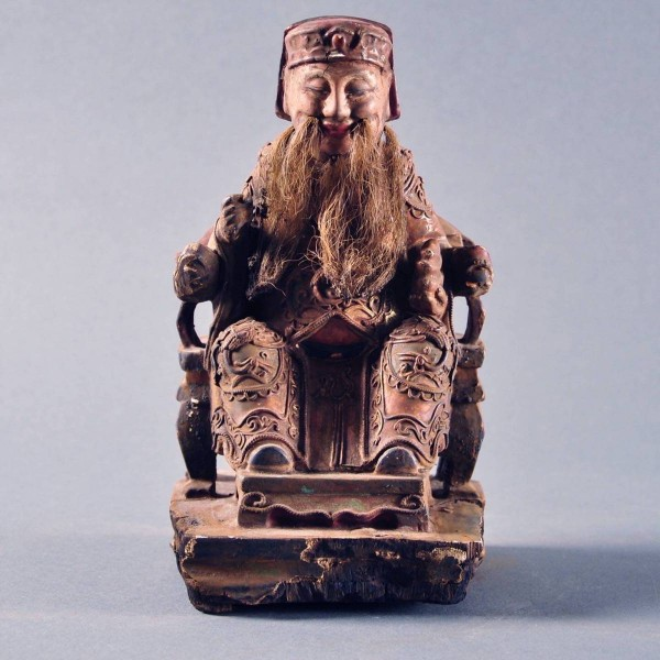 Antique chinese wood figure of a court official