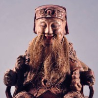 Antique chinese wood figure of a bearded court official