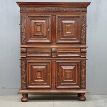 antique French oak standing cupboard
