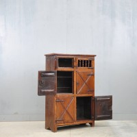 French oak antique standing cupboard