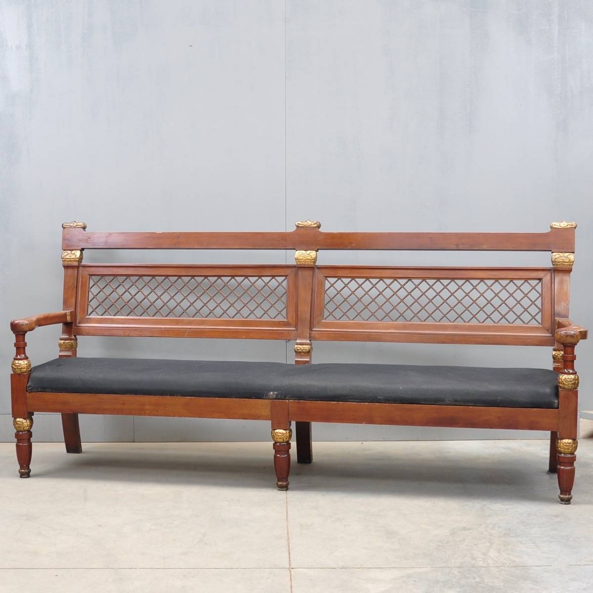 Nordic Empire Style Mahogany Hall Bench