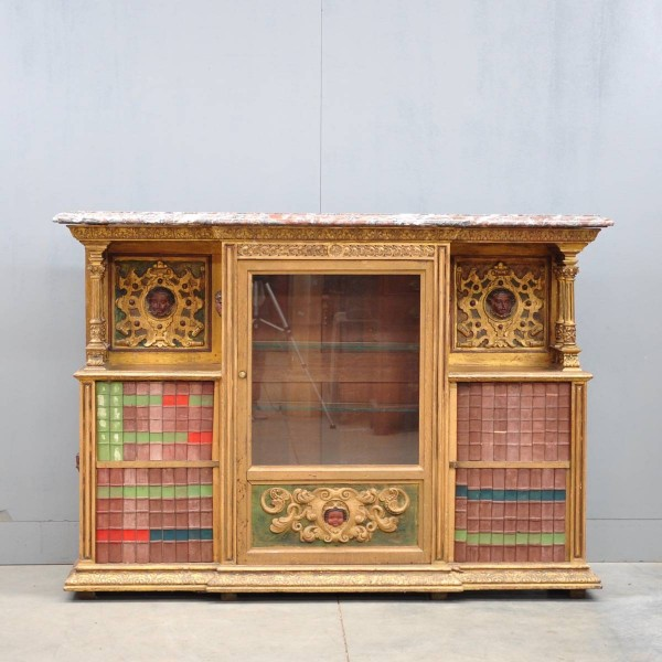 giltwood marble top cabinet