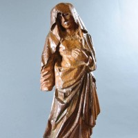 Carved oak Gothic sculpture of a female Saint in Mourning