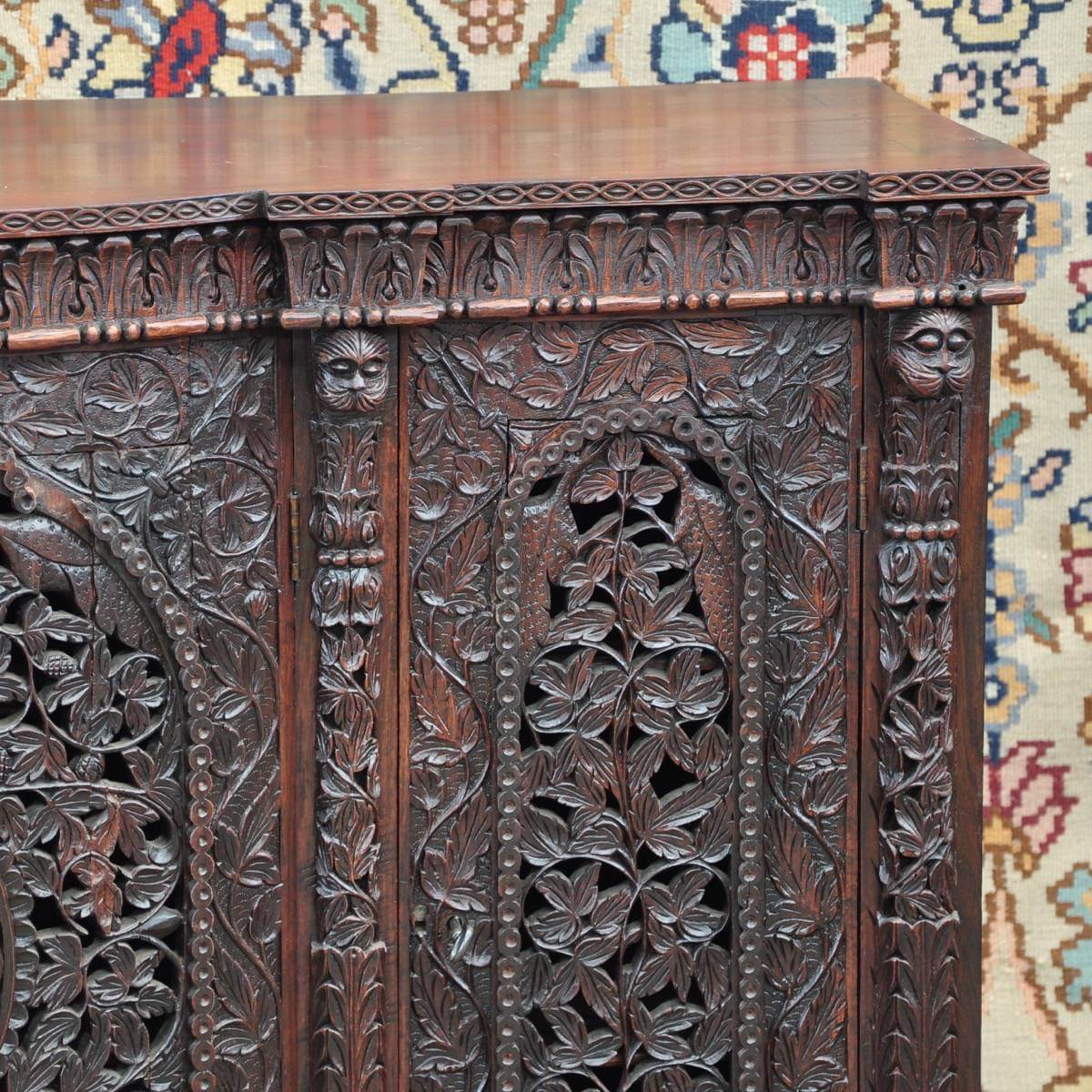 Colonial carved cupboard de grande antique furniture