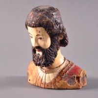 Indo Portuguese ivory bust of a bearded Saint
