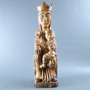 Spanish carved Virgin and Child early sculpture