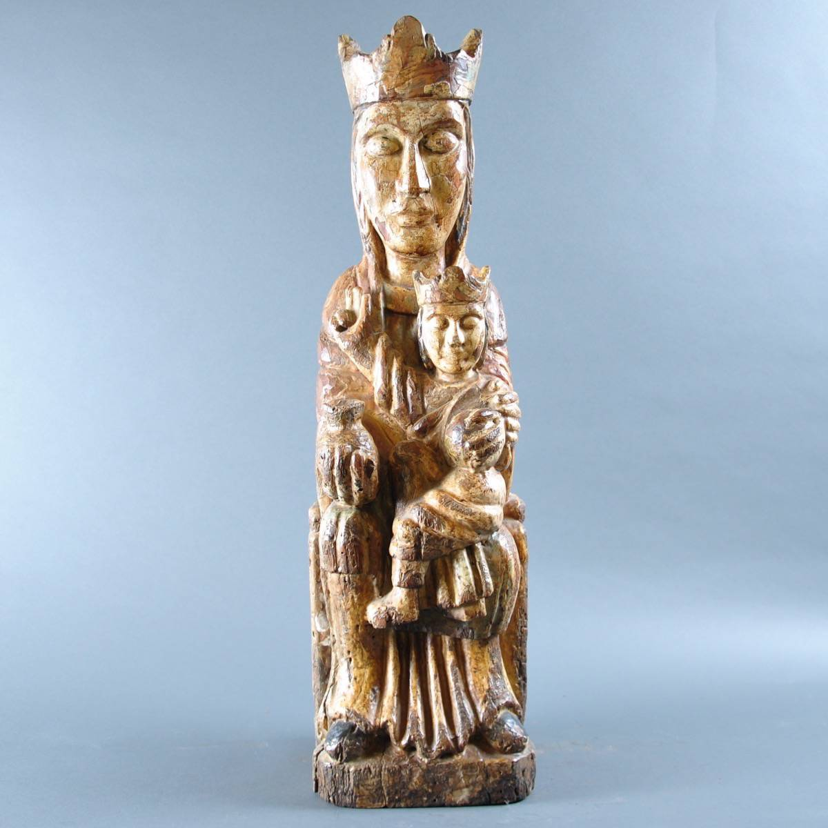 Spanish Carved Virgin And Child De Grande Early Sculptures