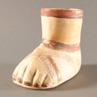 Unusual Terracotta inca foot vessels