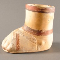 Unusual Terracotta inca foot vessel