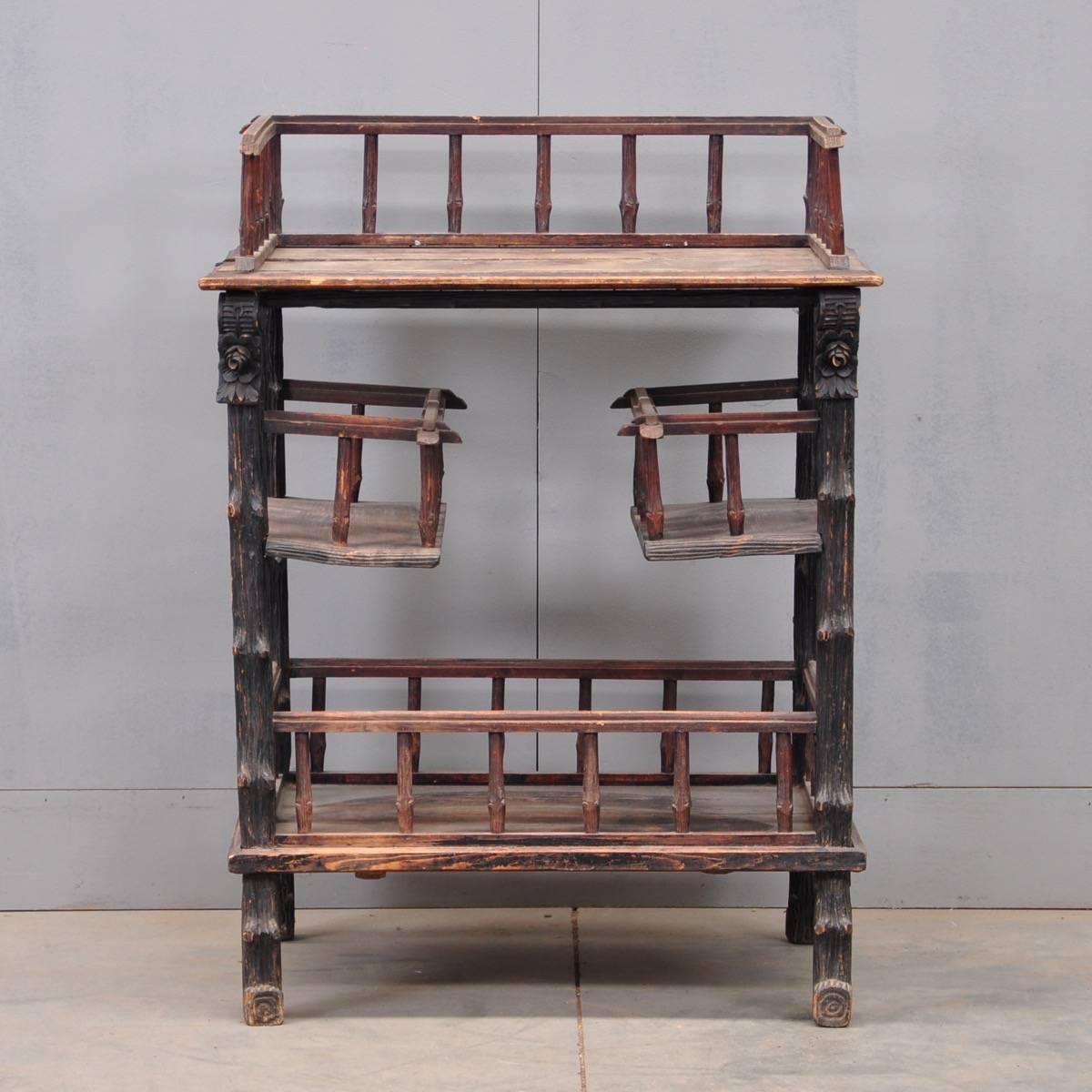 unusual rustic etagere de grande antique furniture. Black Bedroom Furniture Sets. Home Design Ideas