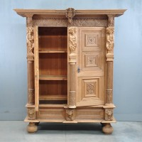 Dutch carved oak two-door cupboard