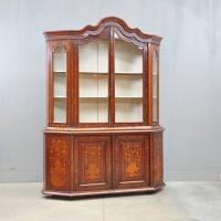 Dutch mahogany and marquetry vitrine