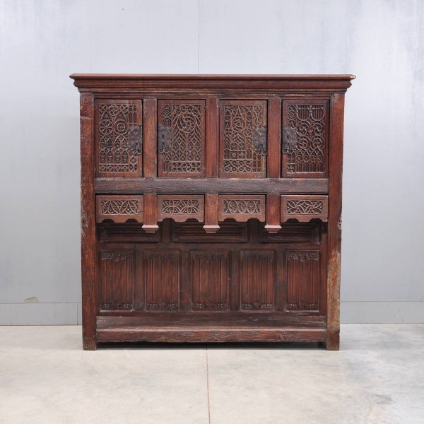 Antique French oak gothic credenza