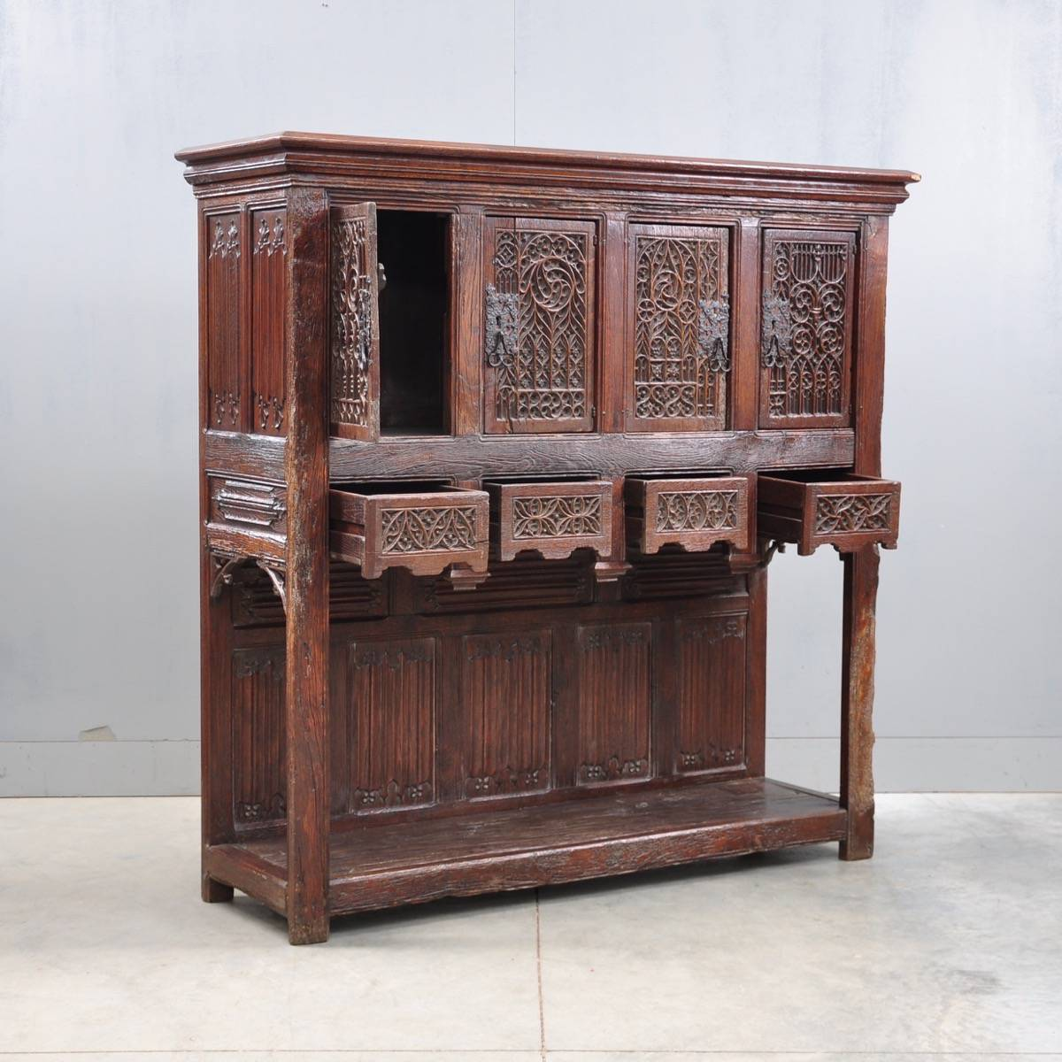Antique French oak gothic credenza - French Gothic Style Credenza De Grande Antique Furniture