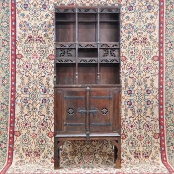 Oak gothic style etagere cabinet