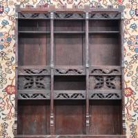 363-43Oak gothic style etagere cabinet