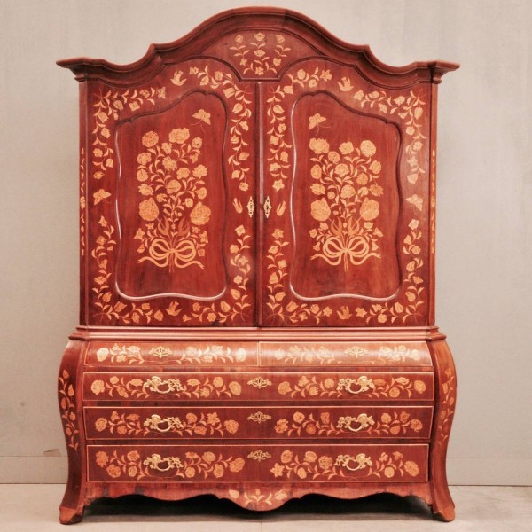 Dutch mahogany and marquetry armoire