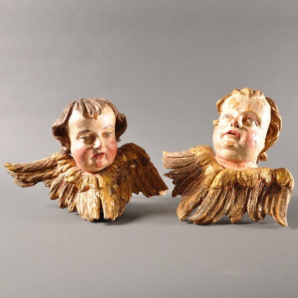 Antique Austrian Pair of Cherubim angels