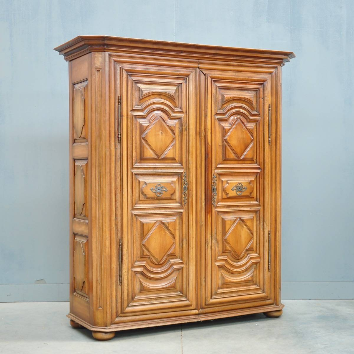 Ordinaire Antique Carved Walnut Armoire | De Grande Antique Furniture