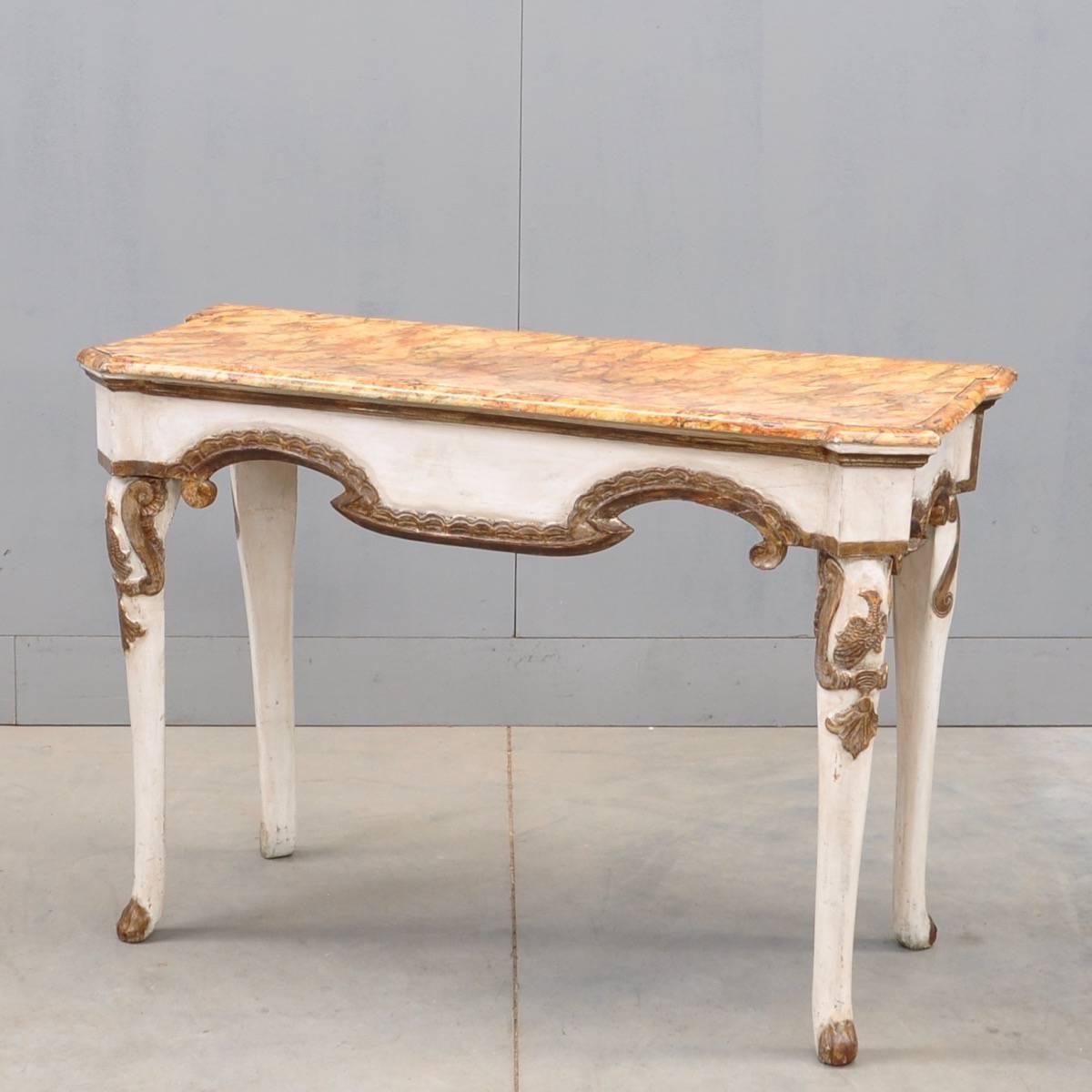 White Gold Polychrome Console Table De Grande Antique