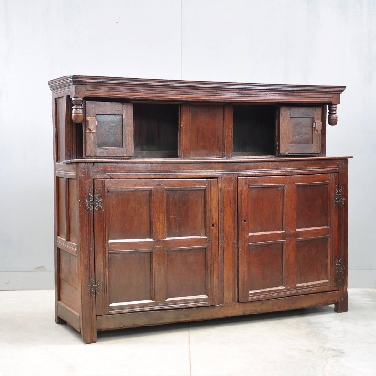 English oak court Antique cupboard   De Grande Antique Furniture - English Oak Court Cupboard De Grande Antique Furniture