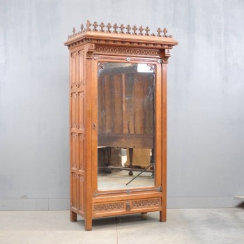 Oak Neo-Gothic armoire with mirror| De Grande Antique Furniture