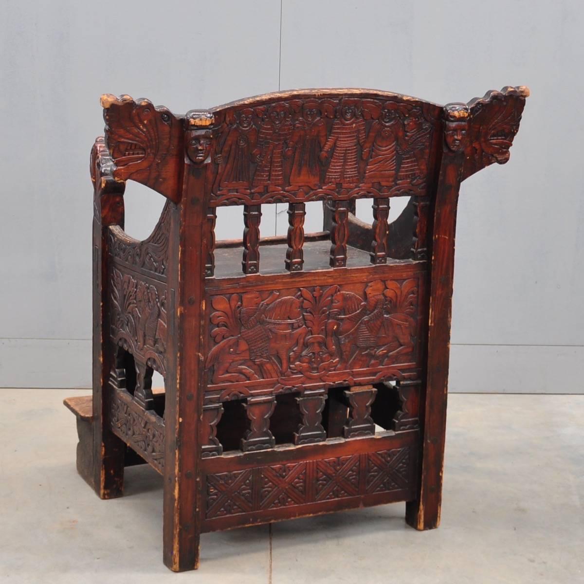 Swedish Carved Throne De Grande Antique Furniture