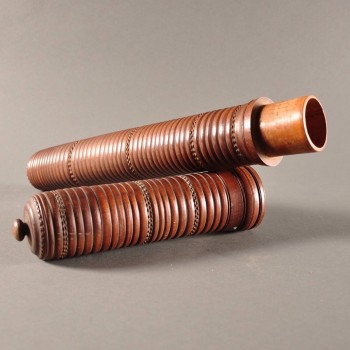 Antique wood tube carved with attention to details