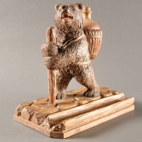 Swiss Black Forest carved wood Bear inkwell