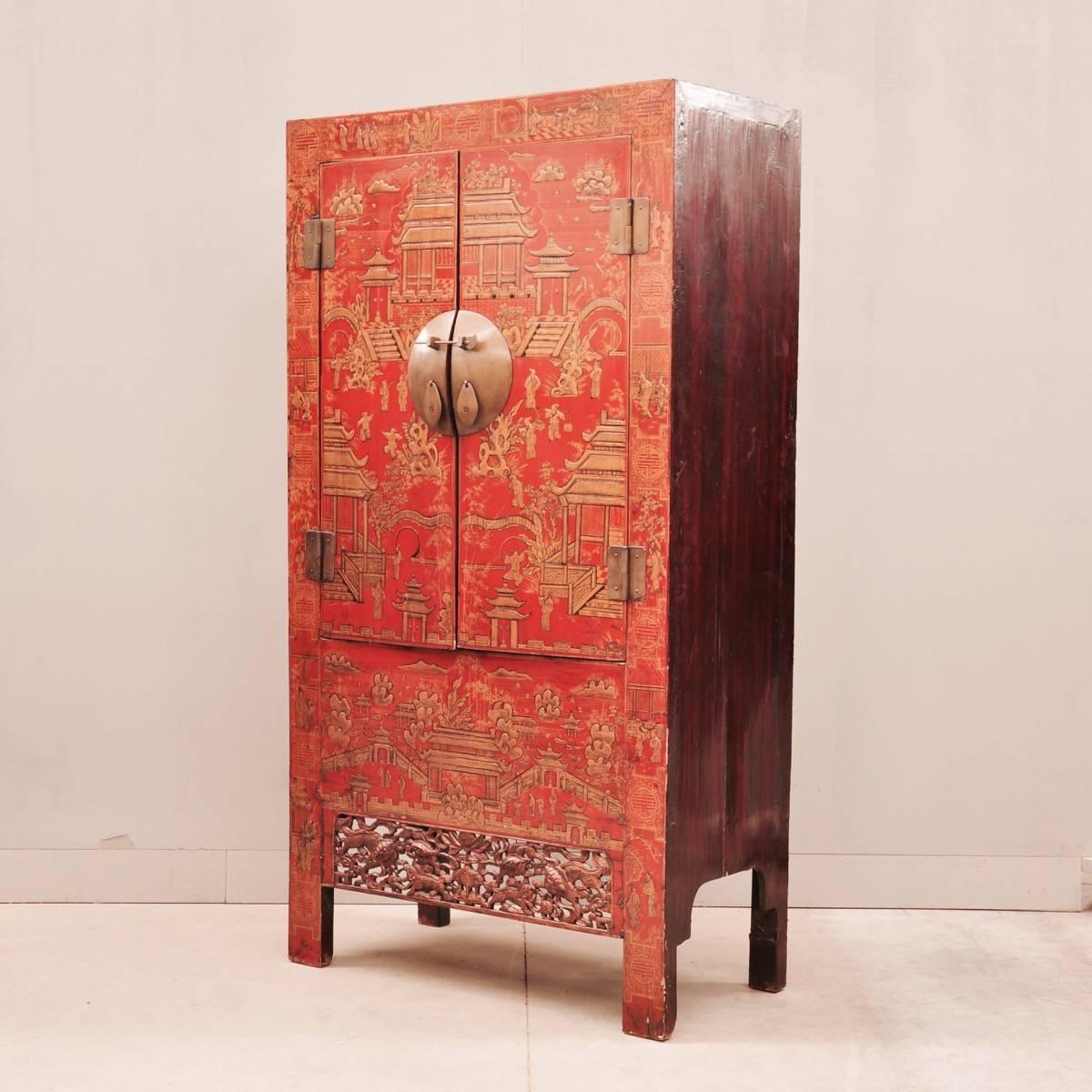 red lacquer cabinet | De Grande Antique Furniture
