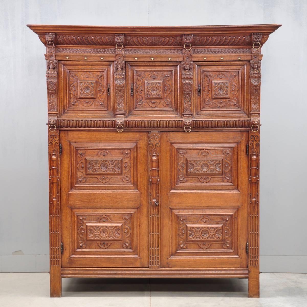 Flemish oak Renaissance cupboard - Antique Cupboards And Antique Armoires