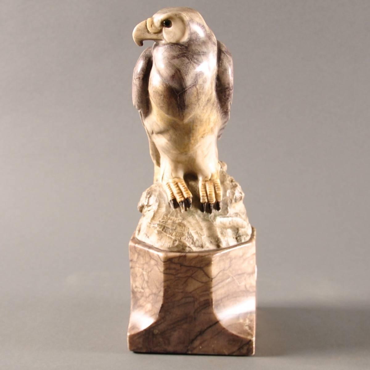 Hand Carved Marble Eagle Sculpture De Grande Antique