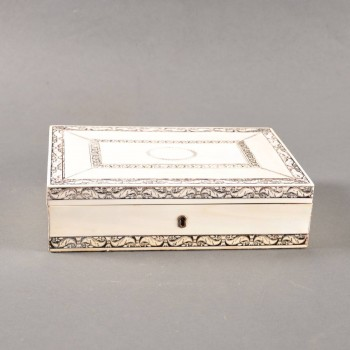 Indian bone veneer casket